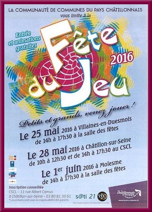 Bientôt la Fête du Jeu dans trois communes du Pays Châtillonnais...