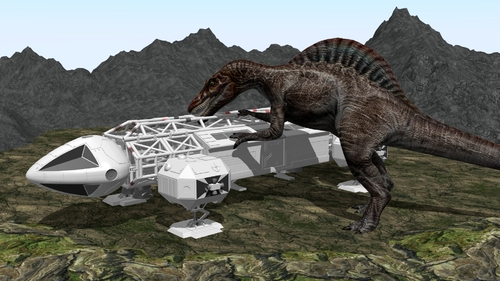 Un spinosaurus s'en prend à un aigle de Cosmos 1999