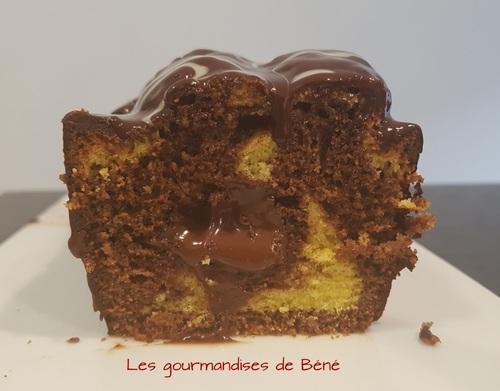 Cake marbré coeur gianduja/chocolat
