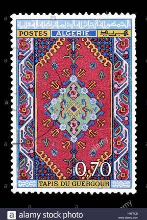 Timbre-poste imprimé par l'Algérie, qui montre guergour tapis, vers 1968.Banque D'Images