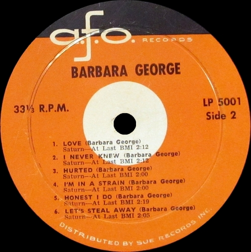 "Barbara George : Album "" I Know  [ You Don't Love Me No More ] "" A.F.O. Records LP 5001 [ US ]"