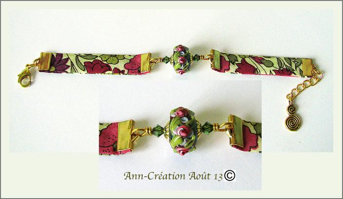 Bracelet Tissu Liberty Authentique Perles Verre Lampwork, Métal doré - Rose Or N°4