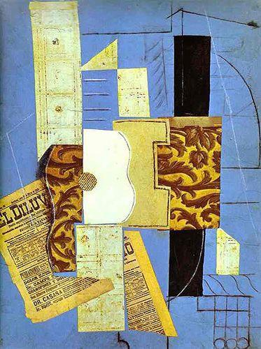 La guitare (1913)  Pablo Picasso (Espagne, 1881-1973)  Papier collé, charbon, encre et craie sur papier bleu  The Museum of Modern Arts, New York, NY, USA: