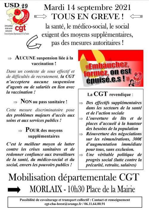 Mobilisation départementale CGT le 14 septembre ! ( Fb.com - 07/09/21 )