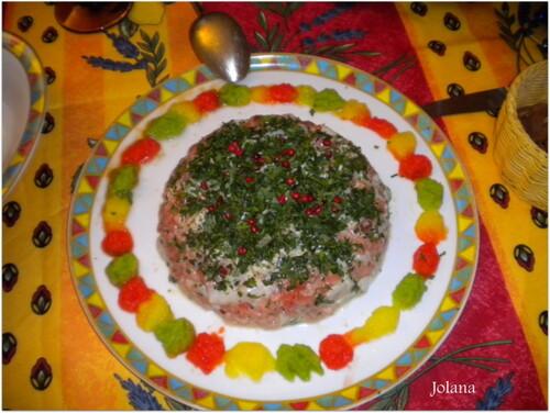 tartare de saumon et st jacques purée de poivrons