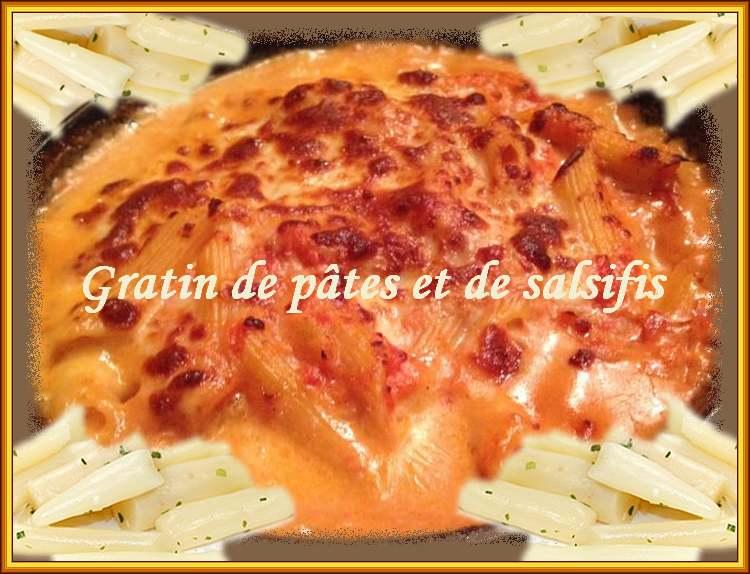 Recette de cuisine : Gratin de pâtes aux salsifis, oignons et poivron