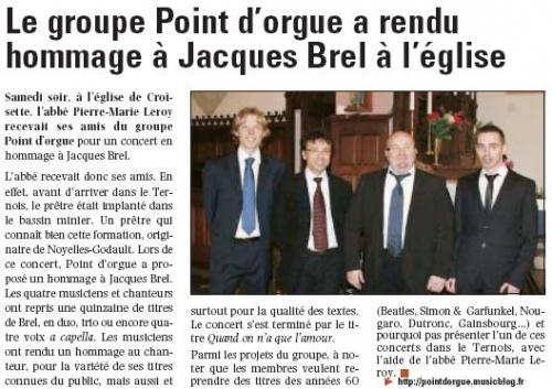 Concert à Croisette le samedi 12 décembre 2009
