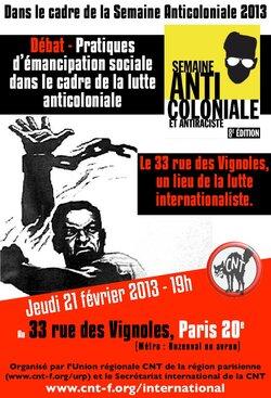 Débat - Pratiques  d'émancipation sociale dans le cadre de la lutte anticoloniale -  Le 33 rue des Vignoles, un lieu de la lutte internationaliste.