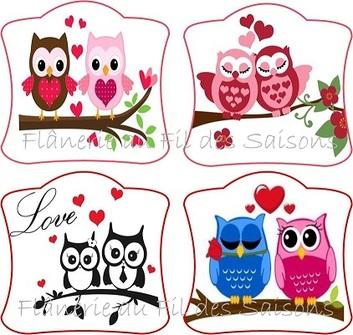 Hiboux St Valentin ! cartonnettes
