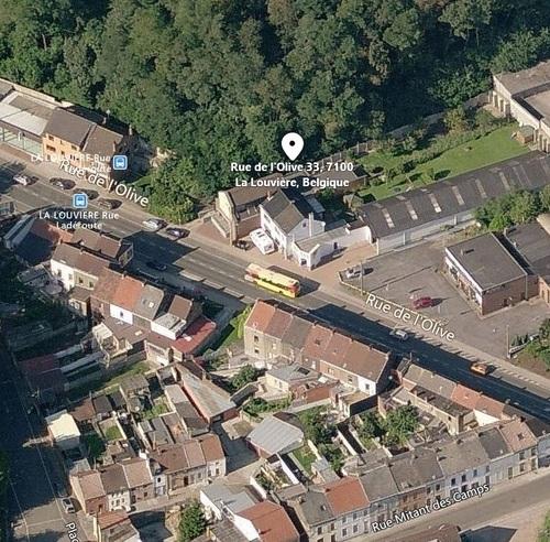 La Louvière - rue de l'Olive - vue aérienne de la façade