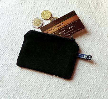 Petit Porte-monnaie tissu japonais coton imprimé floral bleu  11,7 x 8,4 cm, fermeture à glissière