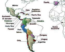 Carte  pays hispanophones