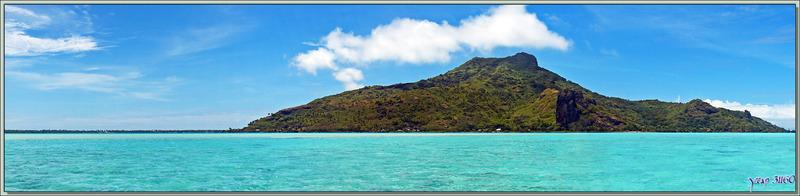 Panorama de la côte nord-ouest de Maupiti vue à partir du lagon - Polynésie française
