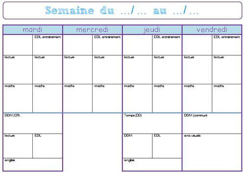 Cahier journal / semainier