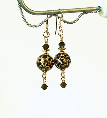 Boucles Verre de Murano authentique Brun moucheté Feuille d'Or / Plaqué Or 14 kt Gold Filled