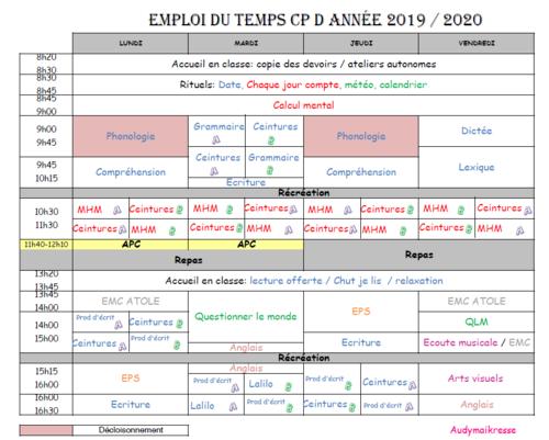 Emploi du temps 2019-2020