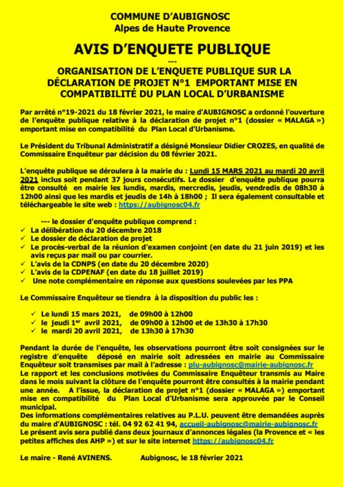 *Projet photovoltaïque de Lure (Aubignosc - malaga) - enquête publique en cours