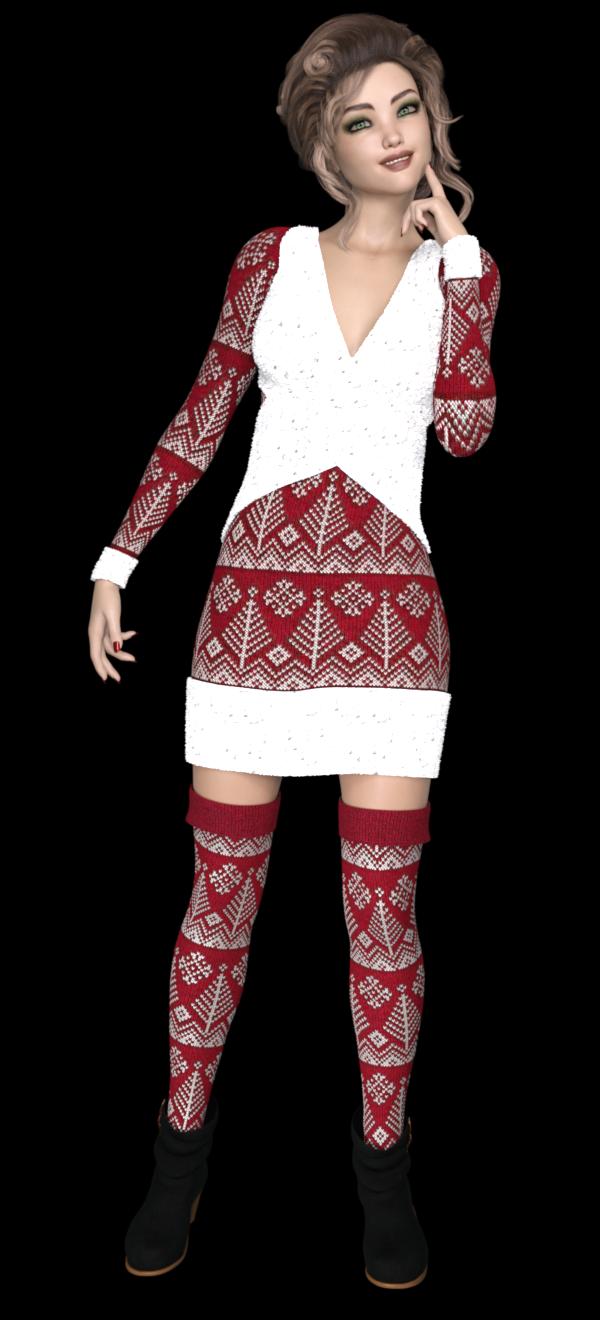 Image de jeune femme en tenue de Noël
