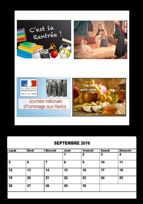 Mes calendriers 2016