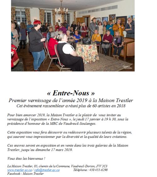 Exposition et vernissage Maison Trestler