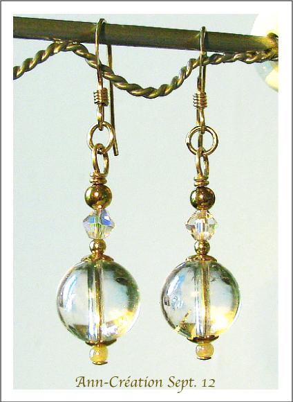 Boucles Cristal de Roche & Cristal de Swarovski / Plaqué Or 14kt Gold Filled