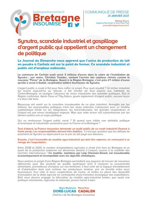 Synutra, Scandale Industriel Et Gaspillage D'argent Public Qui Appellent Un Changement De Politique