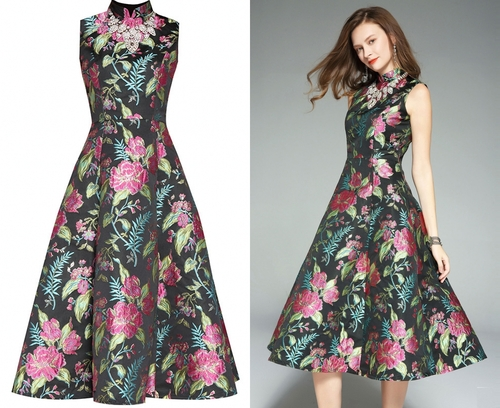 robe vintage midi à broderie fleurie col montant jupe évasée pour mariage de jardin