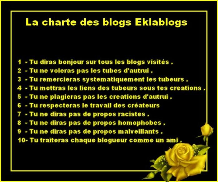 Charte de bonne conduite sur Eklablog  ? qu'en pensez vous ?