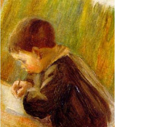 Écolier écrivant par Renoir