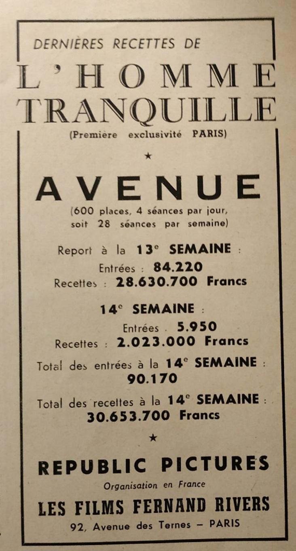 BOX OFFICE PARIS DU 30 JANVIER 1953 AU 5 FEVRIER 1953