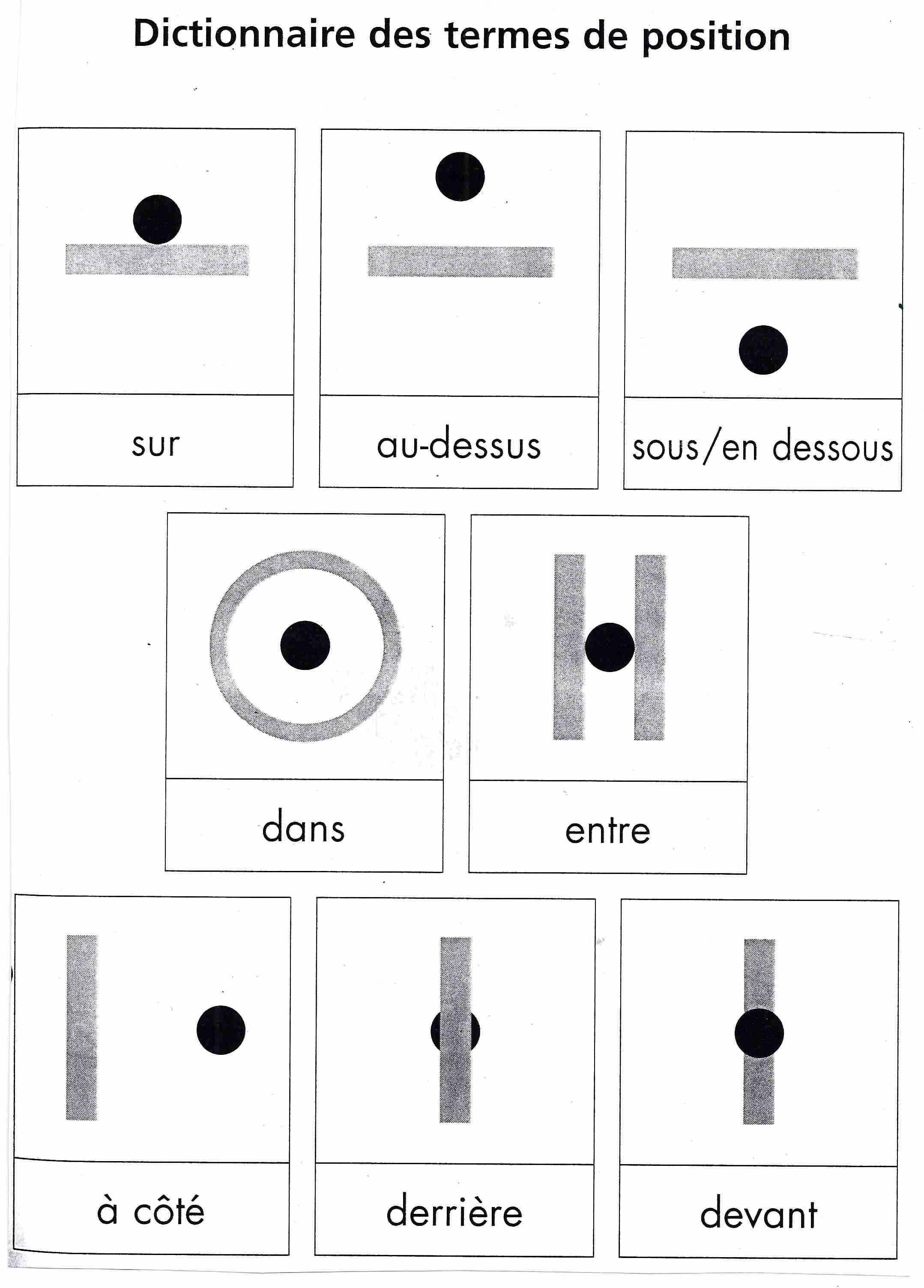 Dictionnaire des termes de position