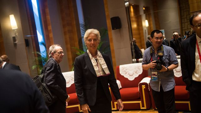 La directrice du Fonds monétaire international Christine Lagarde (C) lors d'un meeting du G20 à Ghengdu en Chine le 23 juillet 2016