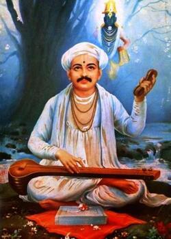 Toukârâm- représentation classique du saint avec Vishnou derrière lui.