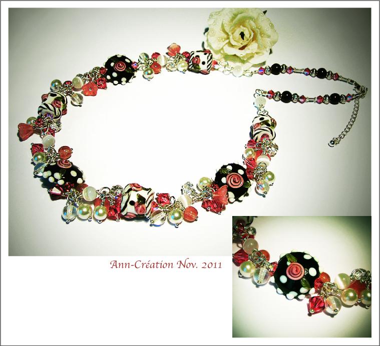 Collier Grappe Verre Lampwork Fleurs roses / Plaqué Argent & Argent 925