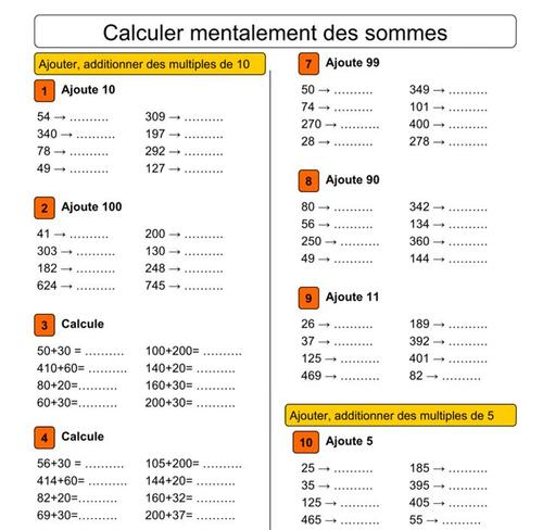 Calcul mental CE2