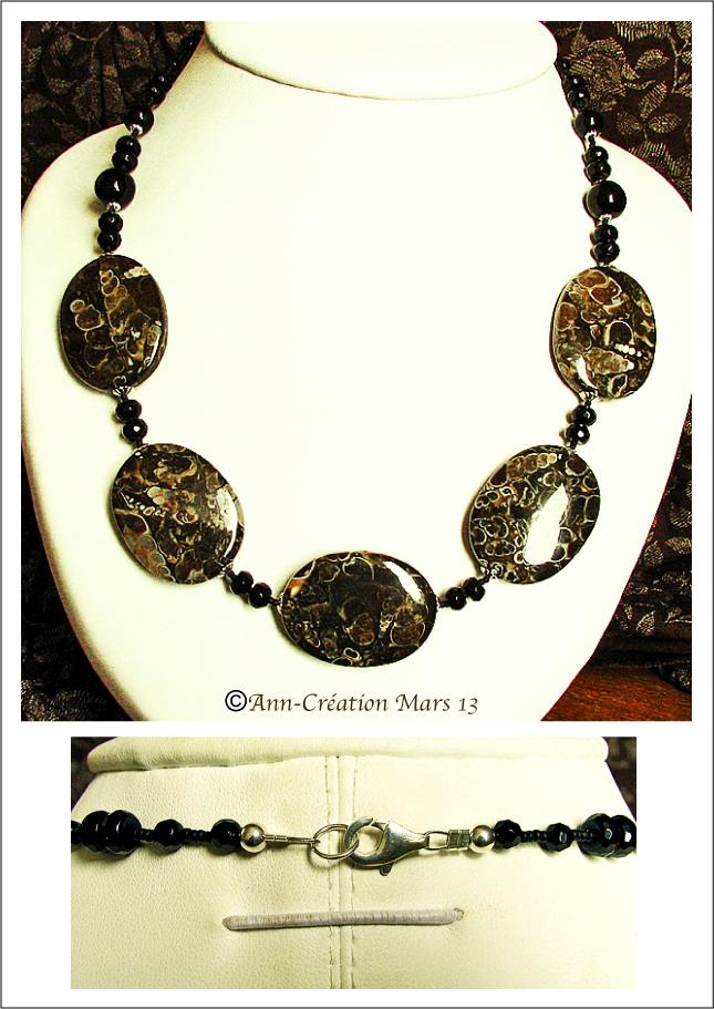 Collier Jaspe Turitelle, Onyx Noir / Argent 925 - Jasper and Black Onyx Necklace