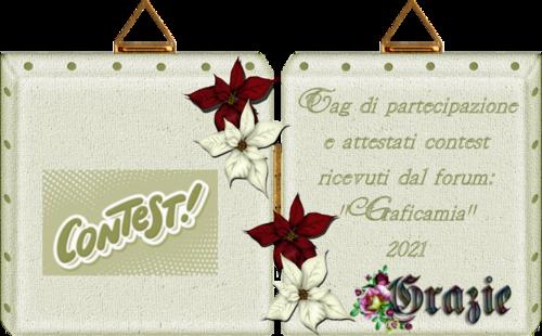 """Tag di partecipazione e attestati contest ricevuti dal forum: """"Graficamia"""" 2021 pag 1"""