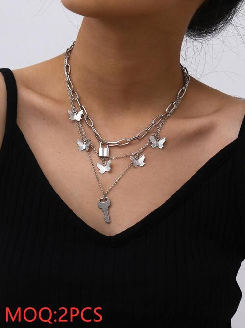shestar wholesale multi-layer lock butterfly necklace