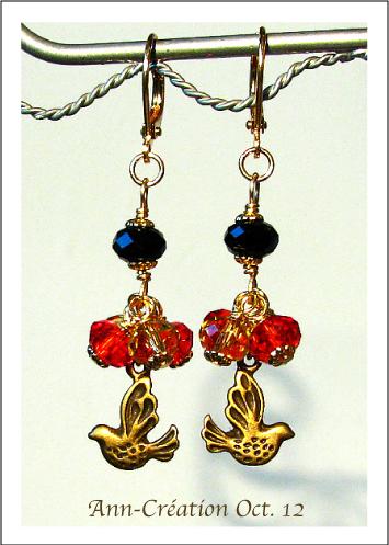 Boucels dormeuses Cristal Rouge et Or, Oiseaux / Plaqué or Gold plated