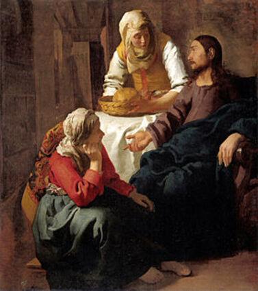 Jésus dans la maison de Marthe et Marie (1654, Johannes Vermeer)