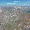 Du sommet du Vignemale (3298 m), hauts sommets de la crête frontière vers l'océan Atlantique