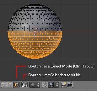 La moitié de la sphère est sélectionnée