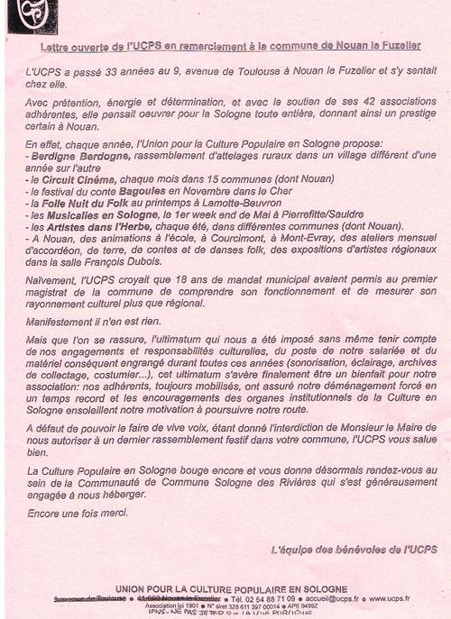UCPS : merci Monsieur le maire (lettre ouverte)