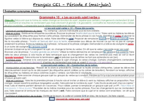 Français CE1 période 5 (année scolaire 2018/2019)