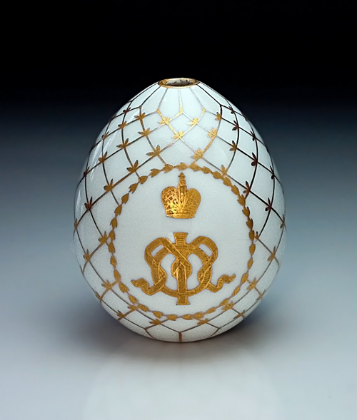 Russian Empress Maria Feodorovna 1917 Imperial presentation porcelain Easter egg for sale