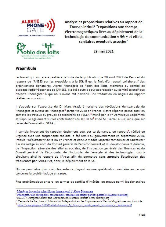 Rapport 5G de l'ANSES >>> Alerte Phonegate et Robin des toits dénoncent la mise en danger de la santé publique !