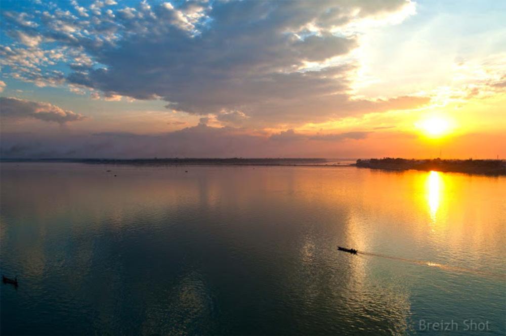 Kampong Cham : Coucher de soleil sur le Mékong