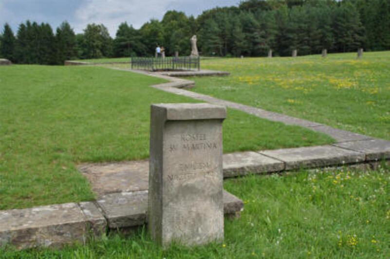 "The foundation of church of ""the old village"" at the Lidice Memorial."