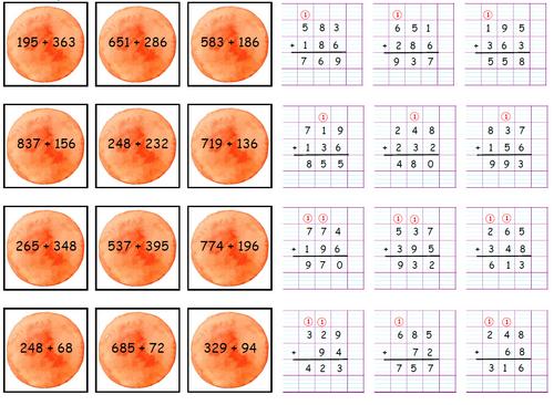 Atelier calcul: addition et soustraction (avec ou sans retenue)