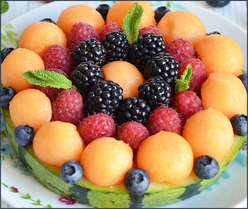 Tarte pastèque-melon-fruits rouges